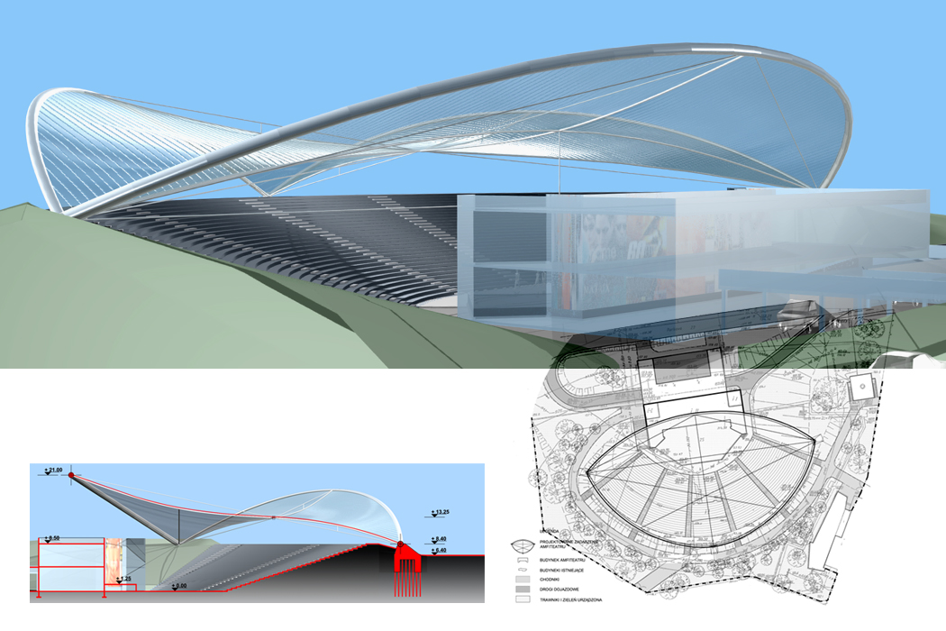 : Amfiteatr w Radomiu - projekt zadaszenia sceny
